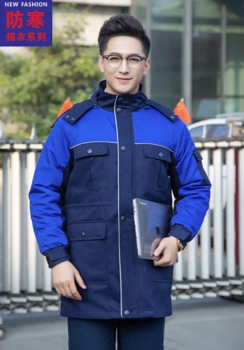 9189藏蓝拼蓝中长款冬季棉衣